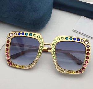 Gafas de sol mujer Square Gold 0115 S 004 Gafas de sol Gold Frame Blue Lens Designer con caja