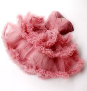 Strapless Mini Homecoming Dresses Strapless Beaded Crystals Ruffles Tutu Cheap Party Dress For Teens Dusty Pink Cocktail Dress Evening Gowns