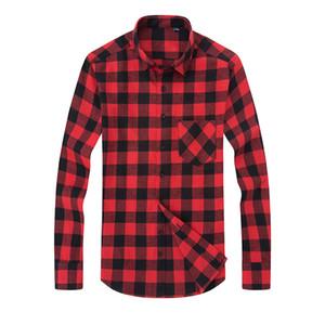 플러스 사이즈 의류 6XL 남성 격자 무늬 셔츠 드레스 2017 남성 캐주얼 따뜻한 부드러운 컴포트 롱 슬리브 셔츠 의류 camisa masculina 탑스