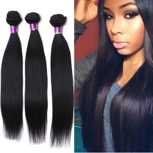 Périgian Virigin Cheveux Raides 4 Bundles Extensions de Cheveux Humains Naturel Noir Soie Péruvienne Cheveux Raides Cheveux Humains Tisse Cheveux Péruviens