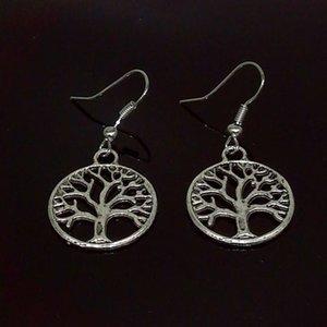 Antik Silber Baum des Lebens Charm Ohrringe 925 Silber Fisch Ohr Haken Kronleuchter