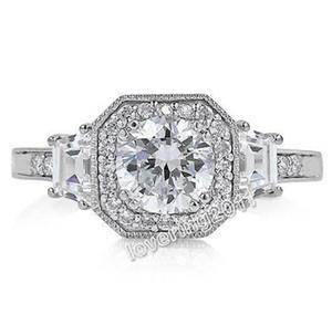 Commercio all'ingrosso - vendita calda di trasporto libero Amanti gioielli amanti topazio bianco gemme d'argento 925 anello in argento per amore regalo Sz 5-13