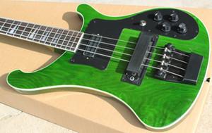 Personalizado RIC 4 Cordas Trans Verde 4003 Guitarra Baixo Elétrico Preto Hardware Triângulo MOP Fingerboard Inlay Impressionante China Guitars Frete Grátis