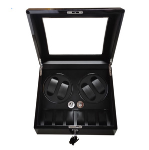Watch winder,2018 gift swiss brand watch accessories box black woodes case for 4 rotator watches 6 storage movement ratator boxes winders