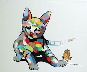 Encadré Chat Chaton Jouer Au Mixte Média Huile Pop Art Moderne, Peint À La Main Abstrait Animal Mur Art Peinture à L'huile Sur Toile Multi Taille J77