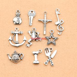 Argento antico misto placcato Anchor Star Teiera Music Note Charms ciondolo gioielli che fanno diy fascino artigianale fatti a mano M067