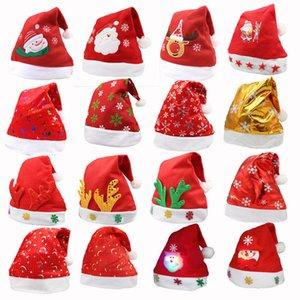 LED Christmas Hat Bambino Bambini Adulti Cappelli per feste Babbo Natale Rosso Accessori Decorazioni per feste natalizie