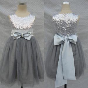 Bling Bling Flores Vestidos de Niña Boda de Plata Gris Lentejuelas Sash Bow Tulle Flor Vestido Formal para Niñas