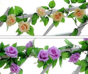 2.5 m 8.2ft Artificielle Soie Rose Fleur Lierre Vine Feuille Guirlande De Mariage Partie Home Decor Noël Intérieur décoration extérieure rotin les accessoires cadeau