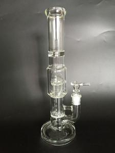 Tubo que fuma del wate de cristal de la pipa de agua de cristal del tubo más nuevo de 2016 bong de alta calidad con 2 perc (GB-294)