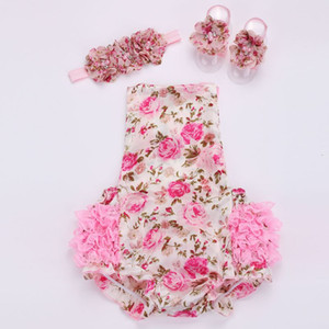BÜYÜK İNDİRİM!!! Toddler kafa bandı ayakkabı seti için çiçek bebek dantel romper; ropa bebe butik bebek yaz giysileri; yenidoğan bebek kız giysileri 2sets /