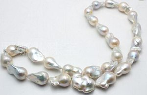 정품 NATURAL 20-25MM RAINBOW BAROQUE WHITE PEARL NECKLACE 18inches bracelet 7.5inches 이어링