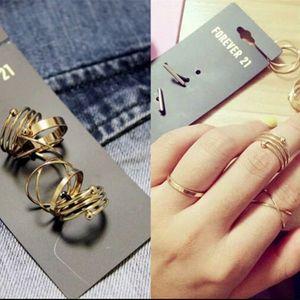 6 Pcs / Set 패션 브랜드 반지 여성 레이디 반지 보석 골드 합금 손가락 팁 스태킹 반지 F21 밴드 반지 KNUCKLE RING Jewellry 액세서리