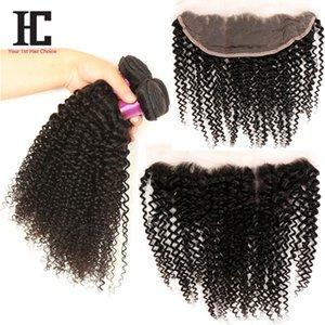 Mongolian Kinky Lockiges Haar Mit Verschluss Volle Spitze Frontal 3 Bundles Mit Frontalverschluss 7a Haarbündel Mit Spitzenfronten Haarprodukte