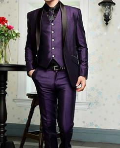 Yüksek Kalite Bir Düğme Mor Damat Smokin Şal Yaka Groomsmen Mens Gelinlik Balo Suits (Ceket + Pantolon + Yelek + Kravat) H212
