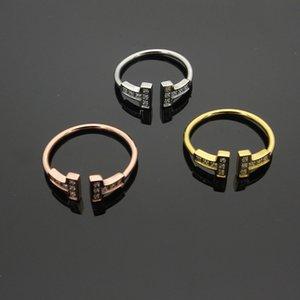 кольцо способа оптовой продажи ювелирного изделия открытия бриллиантового кольцо двойная т с алмазным кольцом парой кольца мужчин и женщинами роскоши кольца Bague вылить Hommes
