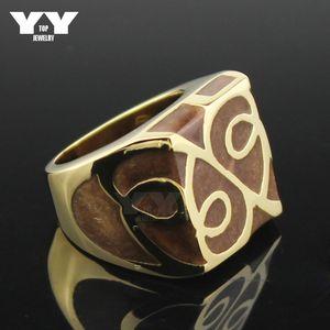 Hight Qualität Edelstahl überzogene 18 Karat Gelbgold Ringe Frauen Casting Ring kühlen quadratischen Form braun Farbe Emaille Blumen Vintage-Stil