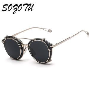 Toptan-2016 Moda Steampunk Gözlükler Yuvarlak Güneş gözlüğü Kadınlar Erkekler Vintage Güneş Gözlükleri Bayanlar İçin Kadın Erkek óculos YQ021