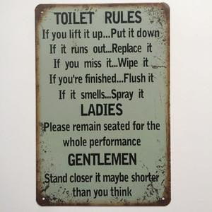 Toilette Regeln Damen Gentlemen Retro Vintage Metall Blechschild Poster für Mann Cave Garage Shabby Chic Wandaufkleber Cafe Bar Wohnkultur