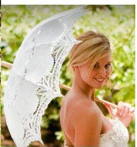 Vintage Beyaz dantel Şemsiye Şemsiye düğün parti için Gelin batten dantel el yapımı Şemsiye düğün şemsiye beyaz oyalamak plaj şemsiyesi
