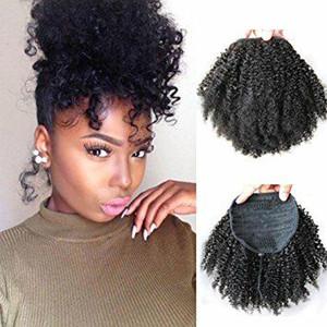 siyah kadınlar kısa yüksek afro puf sapıkça kıvırcık ipli at kuyruğu 120g için at kuyruğu insan saçı