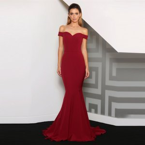 Sexy Burgundy Off Shoulder Mermaid Evening Dress 2019 Formal Stretchy Satin Sweep Train Long Prom Gowns Vestido De Festa Longo