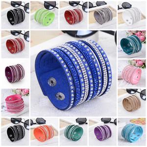 Charm Armband für Frauen Shiny Women Multilayer Leder Strass Kristall Armband Knöpfe Weiß / Schwarz / Blau Armband Lederarmband