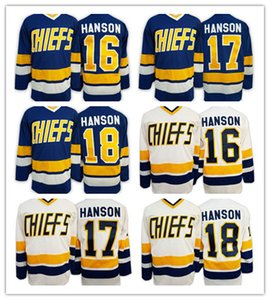 2016 Brothers Charlestown Slap Shot Movie CCM maglie da hockey a buon mercato 16 Jack Hanson 17 Steve Hanson 18 Jeff Hanson 7 Reggie DUNLOP Blu