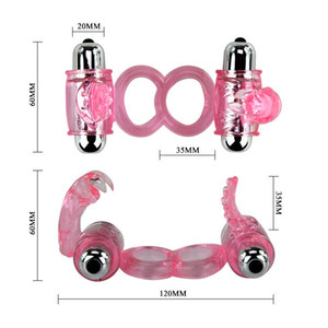 Doppio anello Vibratore Vibrating Erection Erection Penis Cock Stimolatore Accorditore Gannatore Sex Toy # R410 adsba