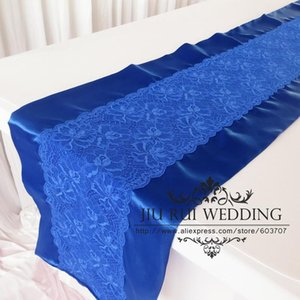 2016 New Fashion 35cm*250cm Royal Blue And Lace Split Table Runner 2PCS A Lot For Wedding Dinging Table