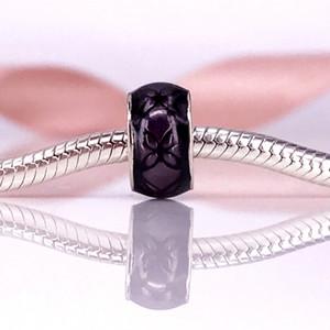 Çiçek Bağbozumu, Mor Emaye Charm Fit DIY Pandora Bilezik Otantik 925 Ayar Gümüş Güzel Mücevherat 791034EN31