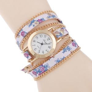 Relojes de cuarzo de lujo con infinito banda Casual reloj de pulsera para niñas mujeres, correa de cuero, patrón de flores infinito, accesorios de mujer baratos