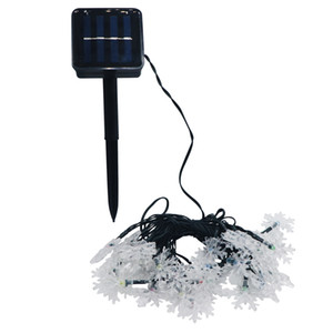 Eyoumy- Snow Flower LED Solar Lamp String Lights 5M Snowflake Novelty Xmas Tree Outdoor Garden Decorative Light Patio 20 LEDS
