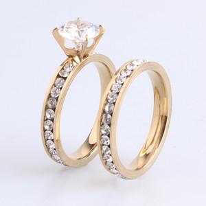 Heißer Verkauf 12pairs Männer Womens Hochzeit Paar Ringe 316L Edelstahl Vergoldet Kristall Fahion Schmuck Engagement Band Ring