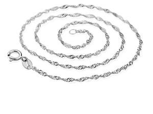 Mode 925 Sterling Silver Chaîne Vague D'eau 1mm 18inch 45cm Chaîne fit DIY Pendentif Collier Livraison Gratuite