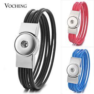 10 teile / los Vocheng Ingwer Snap Charms Leder Armband Multi Kaffee Schwarz Magnetverschluss Armreif Für 18mm Taste Schmuck Nn-588 * 10