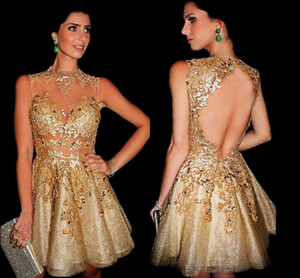 2016 lentejuelas de oro Apliques de encaje Vestidos de cóctel Sheer Neck Mini Short Prom Party Homecoming Vestidos Galajurken Ballkleider Vestidos De Noche