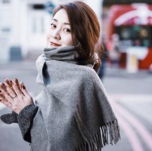 Il colore puro di purl delle signore della sciarpa di filatura della lana della donna di alta qualità di inverno di autunno 1PCS tiene la sciarpa calda 200 * 65cm 14colors trasporto libero