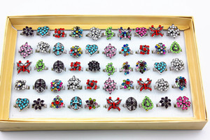 hot sale women crystal wedding ring newest alloy colorful rhinestone adjustable rings for women