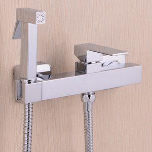 구리 크롬 새로운 화장실 비데 황동 손으로 개최 비데 스프레이 Shattaf + 홀더 + 호스 분무기와 뜨거운 냉수 밸브 믹서 제트 BD552