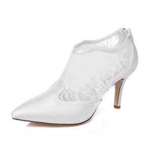 Orta Topuk Güzel Düz Dantel Ayak Bileği Çizme Fildişi Renk Pompa Sivri Burun Zarif Stil Gelin Ayakkabı Düğün Elbise Ayakkabı El Yapımı Düğün için ayakkabı