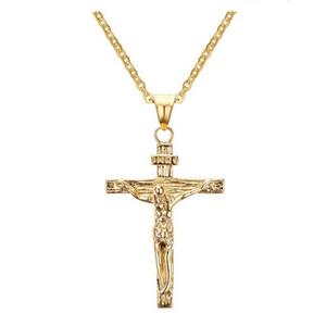 Иисус кусок кулон христианские ювелирные изделия подарок Оптовая старинные из нержавеющей стали / 18k позолоченные цепи крест ожерелье мужчины