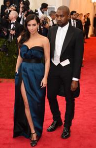 Kim Kardashian Kanye West Met Gala Abiye Yüksek Kalite Seksi Saten Yan Yarık Uzun Balo Parti Elbise Örgün Ünlü Olay Elbisesi