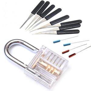 Broken Keys Entfernen Sie Haken Lock Pick Gebrochene Key Extractor Set Bauschlosser-Werkzeug mit Transparent Sichtbar Pick Cutaway Practice Vorhängeschloss