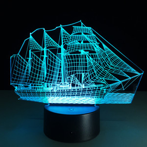 3D Hot Boat Illusion Lampe 3D LED 7 RGB Lumières DC 5V USB Powered 5 batterie Powered gros Drop Shipping Offre Spéciale