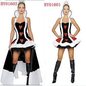 Wholesale-Free Shipping Sexy Poker Queen Nobility Dress Vicious Witch Costume Masquerade Vampire Queen Cosplay Halloween Red Heart Costume