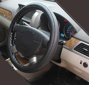 38см универсальный автомобиль рулевое колесо крышка противоскользящая мода искусственная кожа черный/крем/серый вариант