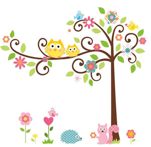 High quality!125*100cm Cute Owl Tree Peel & Stick Wall Decal Kindergarten DIY Art Vinyl Wall Stickers Decor Mural free shipping