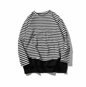 HK Stil Streetwear Klasik Vintage Sahte Iki Adet Tişörtü Siyah Beyaz Şerit erkek Uzun Kollu T-Shirt Hi-Sokak Gevşek Hoodies