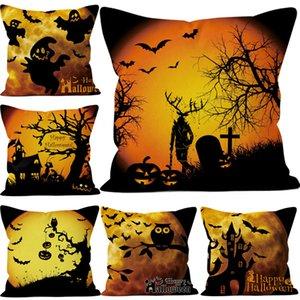 Kissenbezüge Halloween Funny Ghost Kürbis Baum Platz Baumwolle Leinen Kissenbezug Shams Bequemes Zuhause Halloween Dekorationen 45 * 45 CM